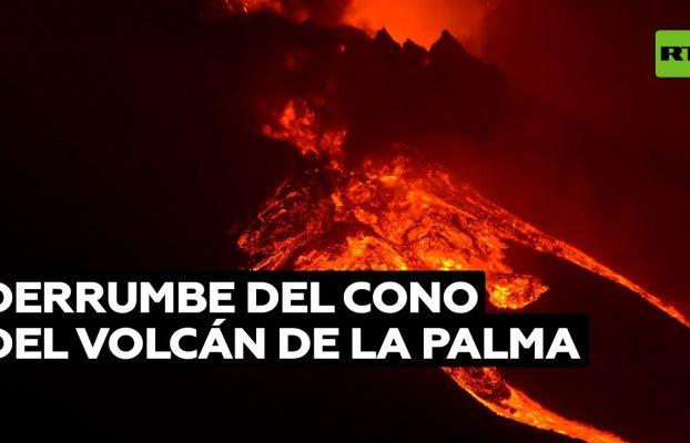 Derrumbe parcial del cono del volcán crea una nueva colada de lava en La Palma