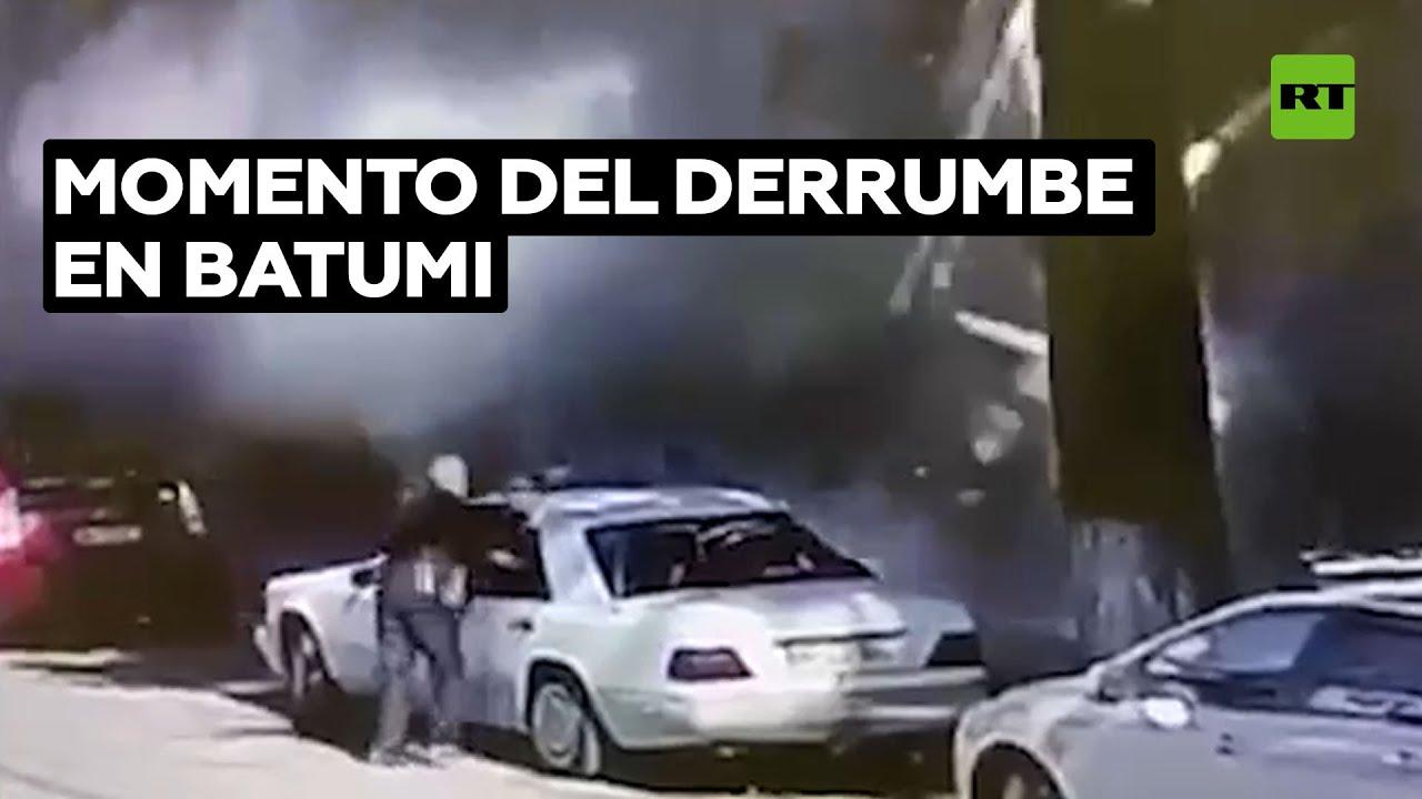 Video: Momento exacto del derrumbe de un edificio residencial en Batumi