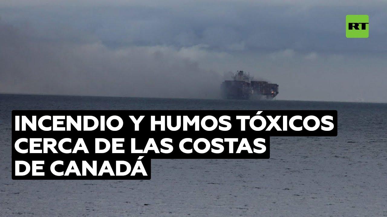 Contenedores con materiales peligrosos se incendian a bordo de un carguero cerca de Canadá