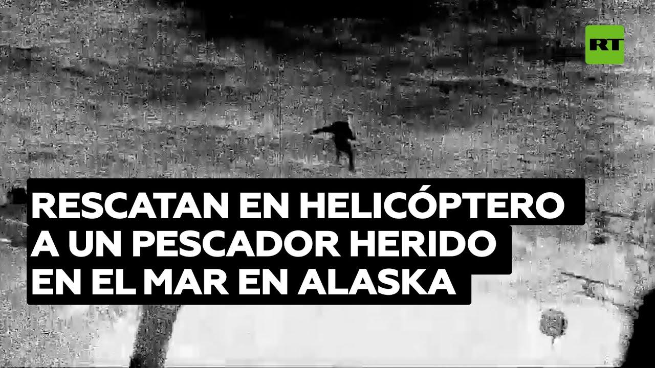 Guardia Costera de EE.UU. rescata en helicóptero a un pescador herido en el mar en Alaska