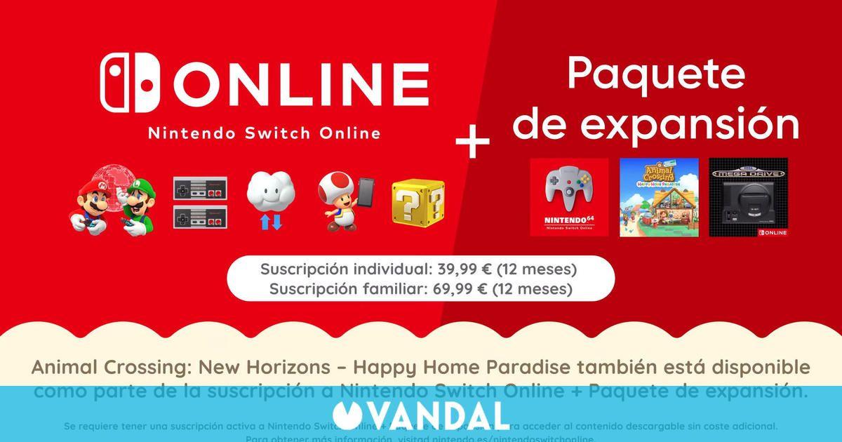 Nintendo Switch Online + Paquete de Expansión costará 40 euros al año