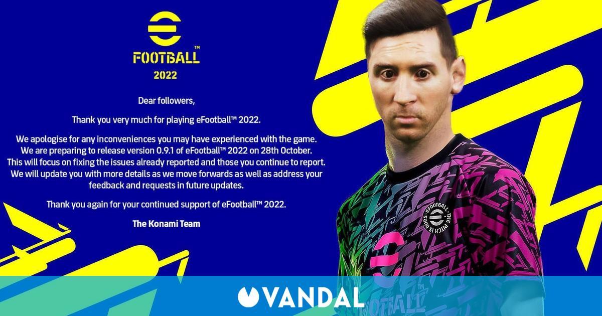 eFootball 2022 recibirá su primer parche el 28 de octubre para arreglar 'problemas reportados'
