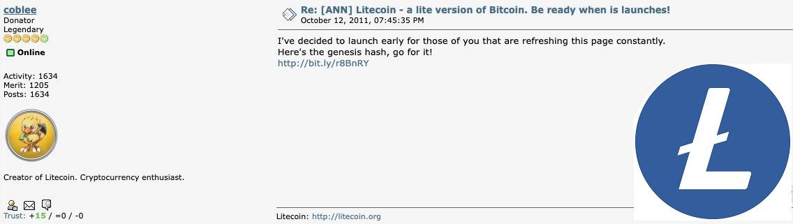 Charlie Lee resume los 10 años de historia de Litecoin.  Primera parte: Lanzamiento justo